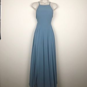 Lulu's dusty blue maxi dress crossed back straps